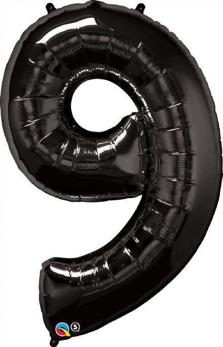 Number 9 Black Super Shape Number Foil Balloon
